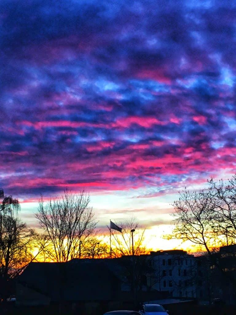 Vi har de smukkeste og ofte meget farverige solnedgange på havnen