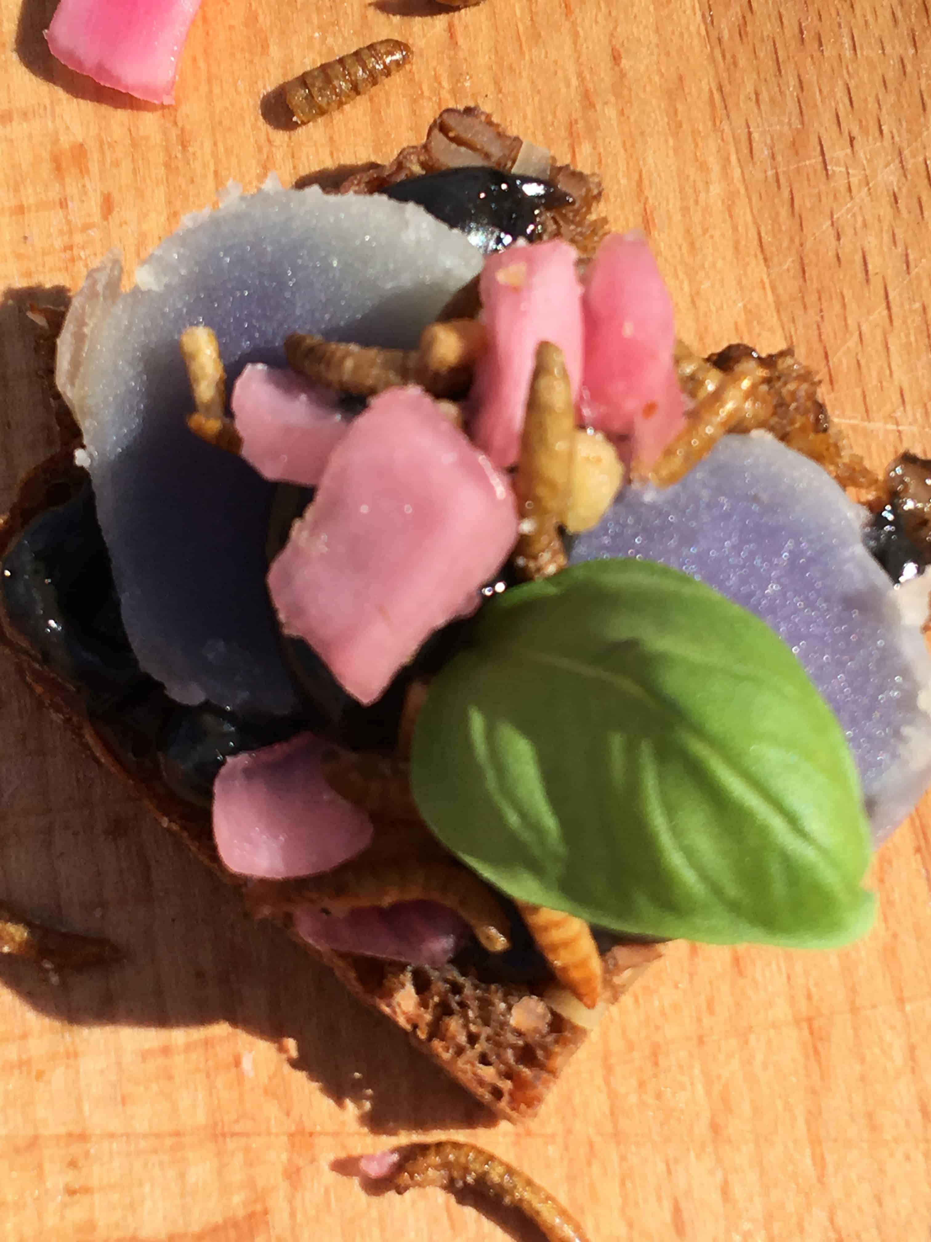 Elever fra Kold College uddelte smagsprøver: hjemmebagt rugbrød med Congo kartoffel, mayonaise farvet med blæksprutteblæk, syltede rødløg og ristede melorme
