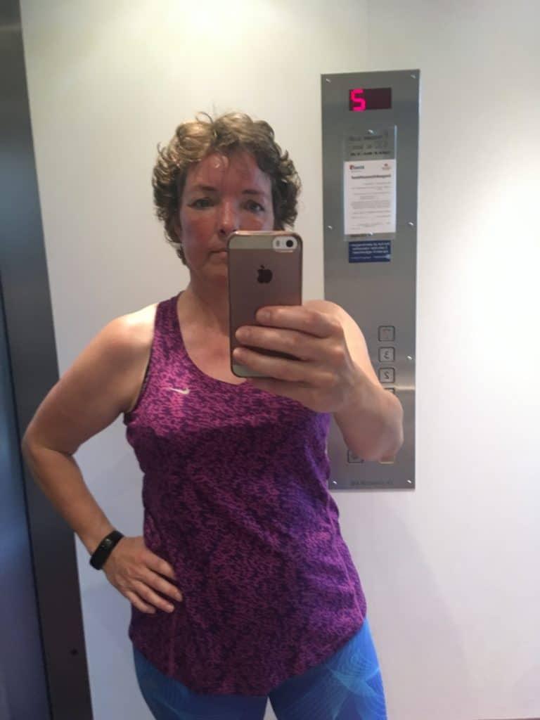 Dagens efter løbetrænings selfie i elevatoren