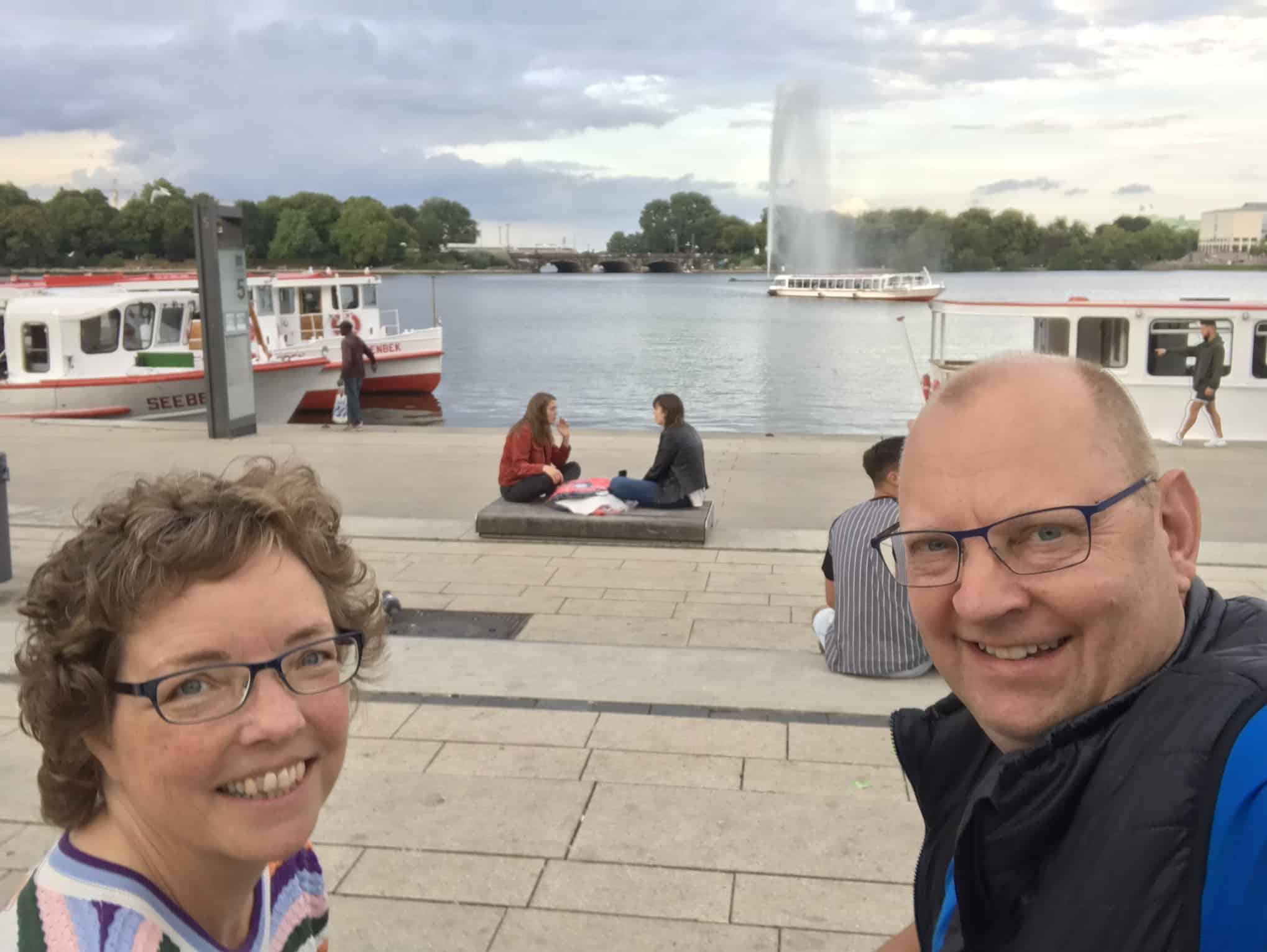 Selfie foran Binnealster og springvandet