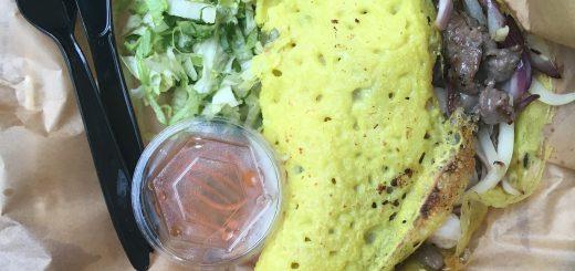 Bahn Xeo pandekage med rejer og oksekød