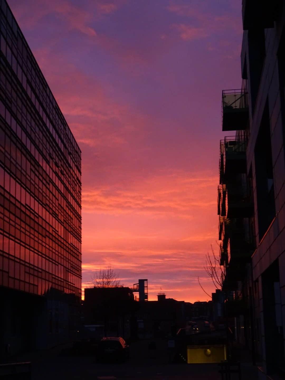 Morgen himmel set fra Englandsgade mod Skibhus