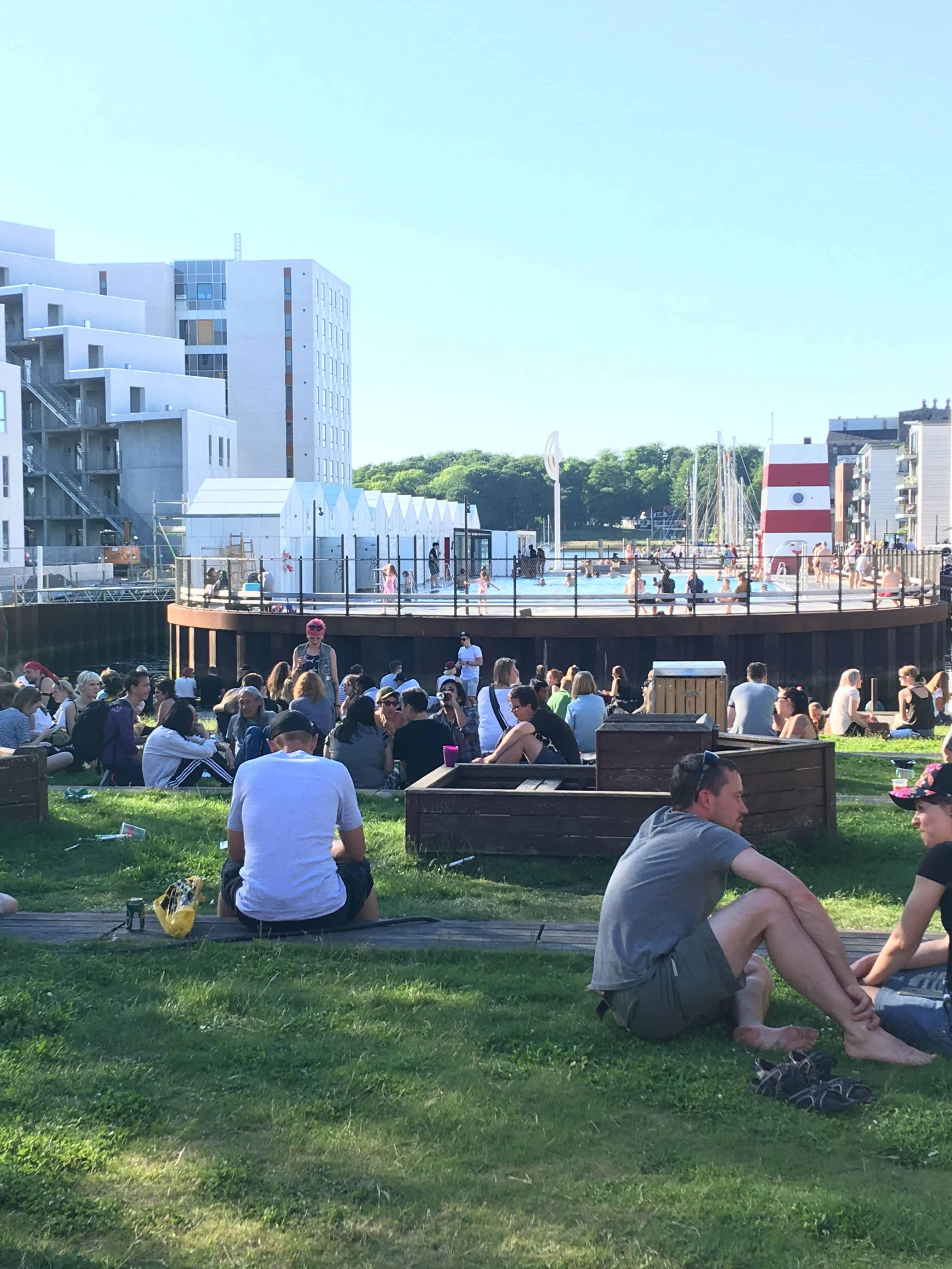 Masser af folk på græsset ved havnebadet