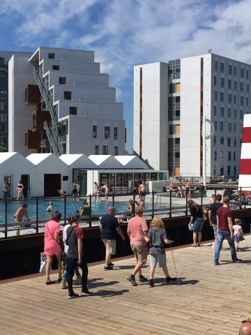 Odense havnebad have mange gæster i løbet af weekenden