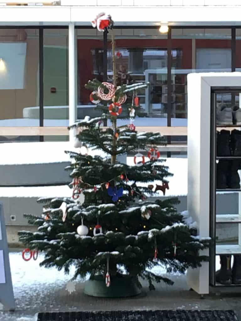 Juletræet med sin pynt byder vinterbaderne velkommen