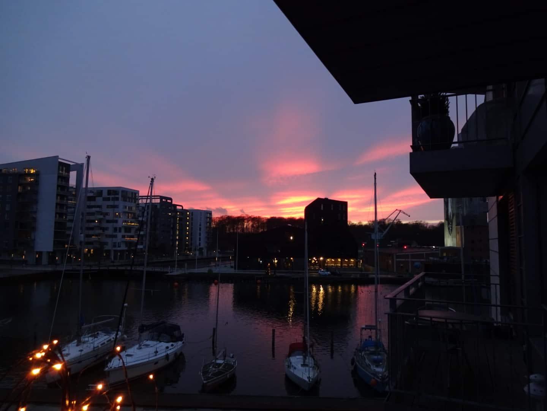 Solnedgang på Odense havn